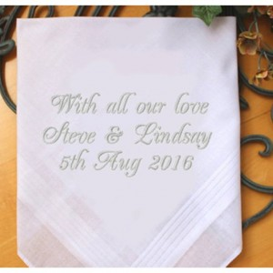 Embroidered With all our love Bride Groom Wedding Handkerchief, Customized personalised personalized Hankies Wedding Gift
