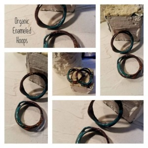 Organic Enameled Hoops Turquoise Pink and Orange