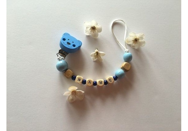 Wooden personalized pacifier clip