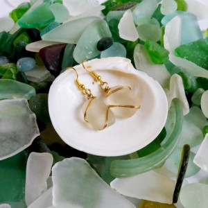 Clear sea glass and gold earrings, frosted sea glass earrings, clear beach glass, frosted beach glass, sea glass jewelry, beach glass