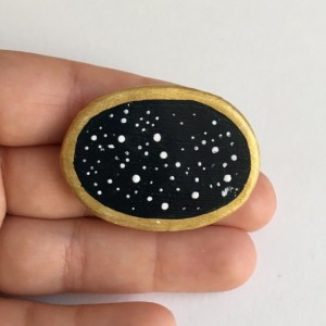 Handmade Clay Brooch Night Sky Pin Oval Artisan Jewelry Accessory Black Stars