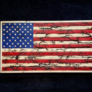 Custom wood American flag with fractal burned and red stripes