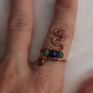 Green Aventurine Ring, Lapis Ring, Lapis Lazuli Ring, Copper Ring, Snake Ring US Size 6