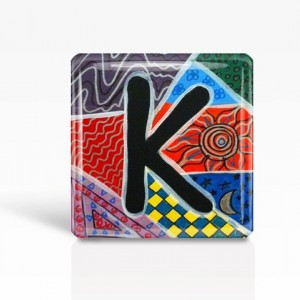 "ALPHABET Letter ""K"" - Glass MAGNET By Artist A.V.Apostle- 2""x 2"""
