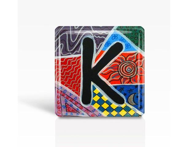 "ALPHABET Letter ""K"" - Glass MAGNET By Artist A.V.Apostle- 2""x 2"""