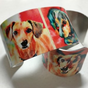 Photo cuff bracelet, aluminum, Marvelous Multi Mutt doxies