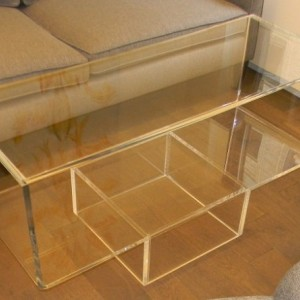 "Lucite/Acrylic Upside Down ""Waterfall"" Coffee Table - 1"""