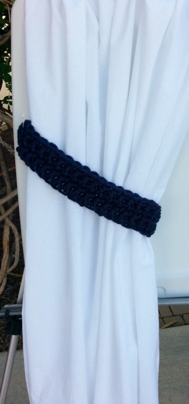 Handmade Crochet Knit Solid Navy Dark Blue Curtain