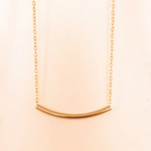Curved Bar Necklace, Dainty, Gold Layering Necklace