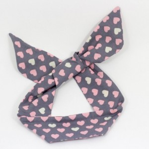 Light Gray Pink Heart Polka Dot Wired Headband, Free Shipping, Rockabilly Style, Rockabilly inspired, 50's and 60's style, Handmade