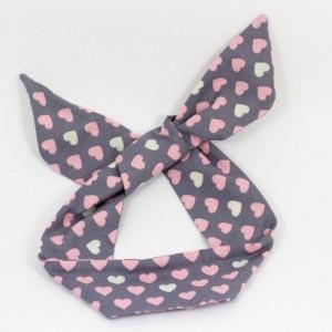 Light Gray Pink Heart Polka Dot Wired Headband, Free Shipping, Rockabilly Style, Rockabilly inspired, 50's and 60's style, Handmade