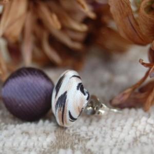 Fabric Button Stud Earrings - Purple with Multi-Neutral Pattern