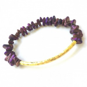 Purple Chip & Gold Bar Bracelet