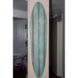 Vintage / Distressed  - Hanging Surf Board Sign - brown/green