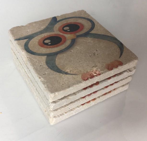 Cute Owl, Natural Stone Coasters, Set of 4, Full Cork Bottom, Owl Coasters, Rustic Decor, Travertine, Blue Owl