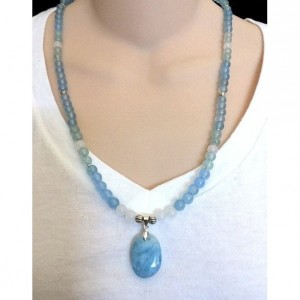 Shades of Blues Beaded Necklace, Aquamarine Glass Pendant