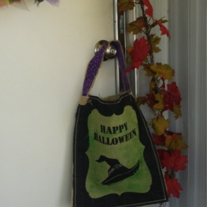 Green Painted printed burlap trick or treat Halloween bags