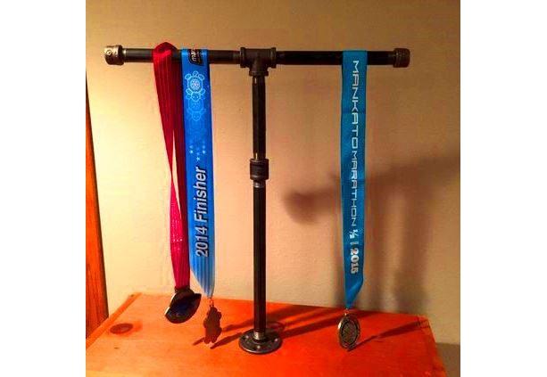 Sports Medal Display Stand Industrial Black Pipe-- Marathon, 26.1, Half Marathon, 13.1, 10 K, 5 K, Sprint Tri, Tri,Iron Man