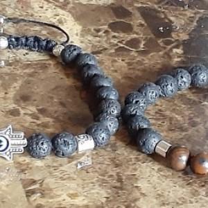 Natural Lava Rock & Gemstone Chakra Bracelet | Adjustable Chakra Bracelet With Hamsa Hand and Evil Eye  | Calming - Protection - Stability