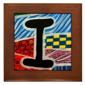 """Folk Art - Letter """"I"""" - FRAMED TILE By Artist A.V.Aposte"""