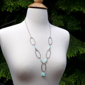 "Peruvian blue Opal necklace - Sterling Silver and blue opal bubble necklace - Boho necklace - 25"" long"