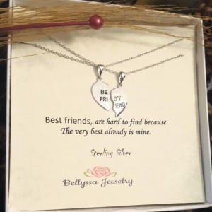 Womans Sterling Silver Rhodium Plated half broken hearth Best Friends Pendant Necklace,Gift,Engraved Jewelry Quotes,Trendy Jewelry