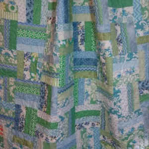 Blue and green lap quilt, baby or toddler quilt, couch throw, shades of pale blue and green handmade blanket