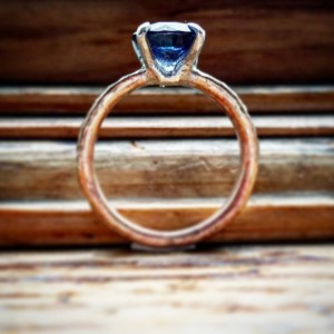 Lura Blue CZ Solitaire Ring in brass