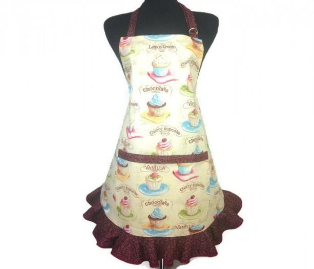 Retro Cupcake Apron for Women with Chocolate Swirl Ruffle