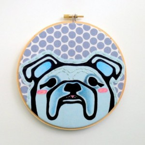 Dog Embroidery Hoop Art - English Bulldog Art - Gift for Dog Lover - Dog Art for Boys Room -Dog Wall Art - Dog Embroidery