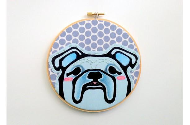 Dog Embroidery Hoop Art - English Bulldog Art - Gift for Dog Lover - Dog Art for Boys Room -Dog Wall Art - Dog Embroidery