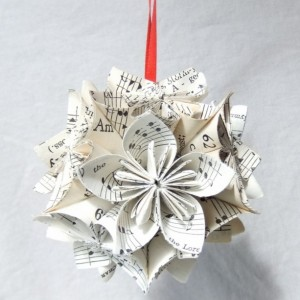 Note Worthy Lg Origiami Ornament Upcycled, Sheet Music Ornament, Christmas Tree Ornament, Music Decor, Wedding Decor, Musical Gift, Fan Pull