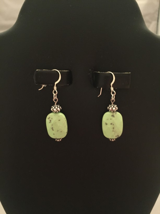 Lime Green Jasper with Real Sterling Silver Earrings
