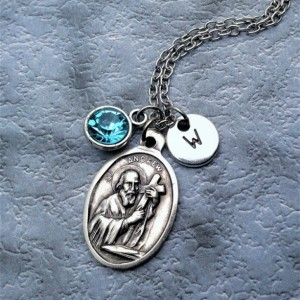 Personalized Saint Andrew Necklace. Patron Saint of Fishermen and Singers
