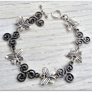 The Butterfly Effect Silver and Gunmetal Bracelet