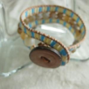 Leather beaded cuff bracelet in Tan Wrap bracelet, designer look