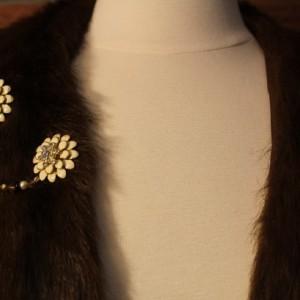 Vanilla enamel sweater pins, pinup jewelry, sweater keeper