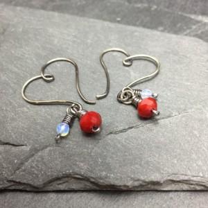 Heart Shaped Hoops - Sterling Silver-filled wire, Czech Glass earrings