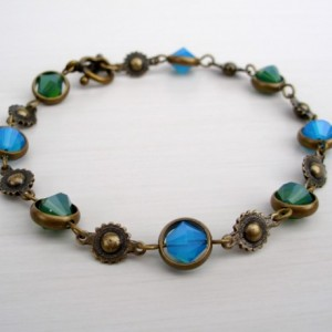 Peacock Blue And Green Swarovski Crystal And Brass Bracelet