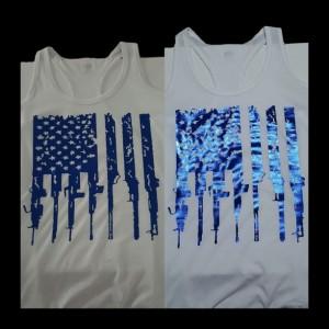 Metallic Blue Rifle Flag Shirt