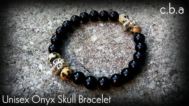 Obsidian & Leopard Jasper Beaded Skull Bracelet