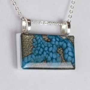 Hand Painted Pendant - Gun Metal Black and Blue Pebeo Oil Paint and Resin