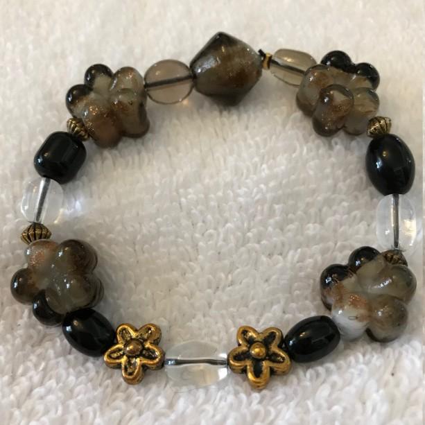 Espresso Blooms handmade beaded bracelet fits most wrists