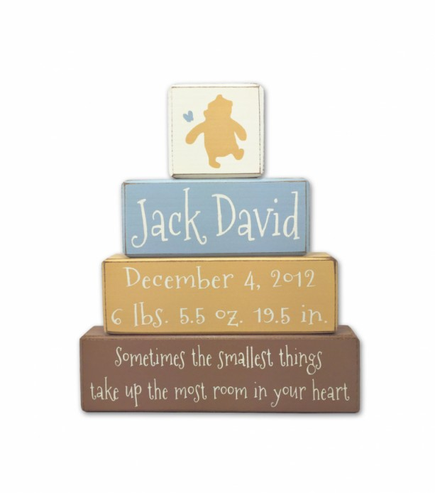 Winnie the Pooh Nursery - personalized -  wood sign - custom name and birth stats