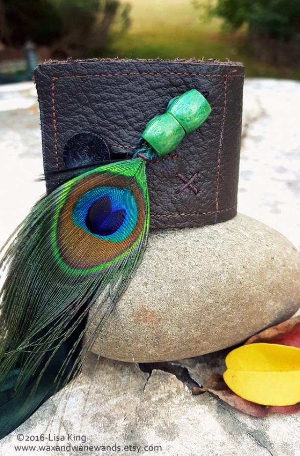Peacock Feather Brown Leather Unisex Bracelet Cuff Aftcra