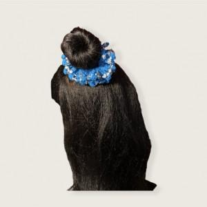 Blue Sliver Hearted Hair Scrunchie