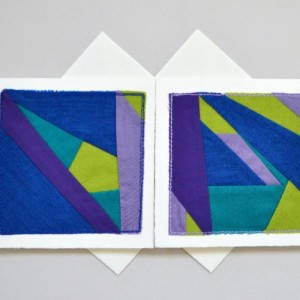 Abstract textile art cards -- two handmade fabric greeting cards