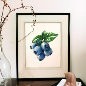 8x10 Blueberry Print, Food Art, Food Illustration, Handwritten Art, Kitchen Decor, Fruit Painting, Art Print, Fruit Print, Blueberries Painting