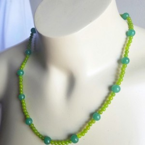 Peridot Adventurine Gemstone Bead Necklace Sterling Silver Findings Women Collar