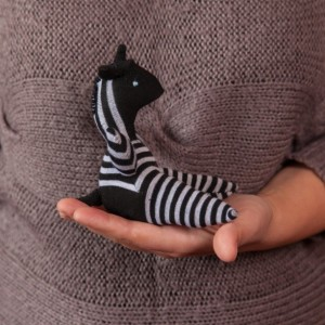 Sock Zebra Toy - Stuffed Animal Doll, Small Personalized Gift for Babies, Kids or Women, Soft and Handmade